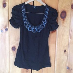 Beaded Black Top